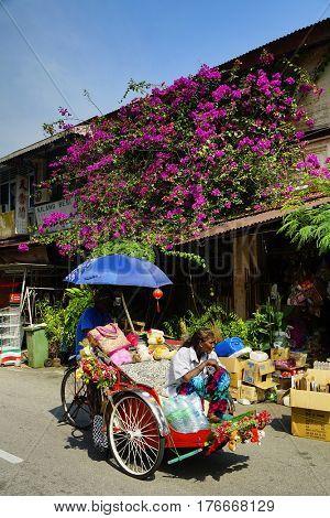 PINANG, 14 JANUARY 2017 - Street scene in Georgetown, Pinang Island, Malaysia, Asia