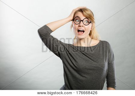 Surprised Astonished Girl With Open Mouth.