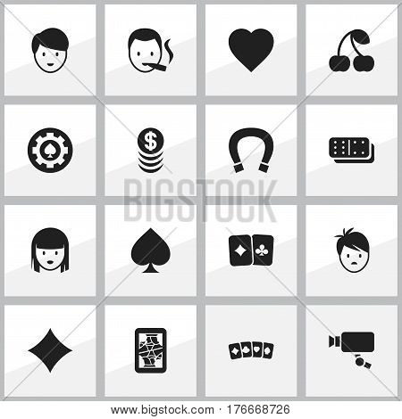 Set Of 16 Editable Excitement Icons. Includes Symbols Such As Tracking Cam, Boy, Female Face And More. Can Be Used For Web, Mobile, UI And Infographic Design.