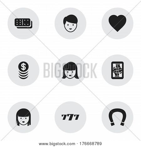 Set Of 9 Editable Gambling Icons. Includes Symbols Such As Woman Face, Lucky Seven, Blackjack And More. Can Be Used For Web, Mobile, UI And Infographic Design.