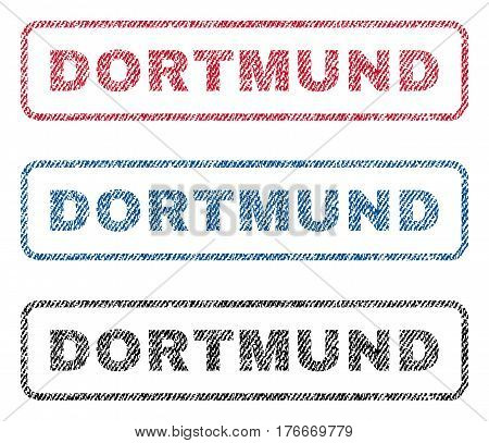 Dortmund text textile seal stamp watermarks. Blue, red, black fabric vectorized texture. Vector tag inside rounded rectangular banner. Rubber sign with fiber textile structure.
