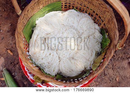 thai vermicelli fresh rice vermicelli in basket in rural market thai food