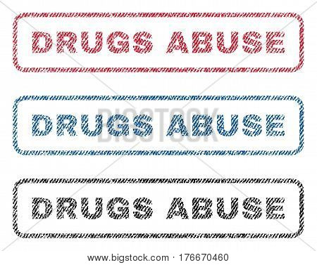 Drugs Abuse text textile seal stamp watermarks. Blue, red, black fabric vectorized texture. Vector tag inside rounded rectangular shape. Rubber sign with fiber textile structure.