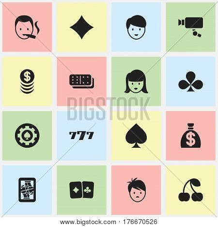 Set Of 16 Editable Excitement Icons. Includes Symbols Such As Moneybag, Boy, Game Card And More. Can Be Used For Web, Mobile, UI And Infographic Design.