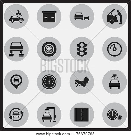 Set Of 16 Editable Traffic Icons. Includes Symbols Such As Tire, Treadle, Auto Repair And More. Can Be Used For Web, Mobile, UI And Infographic Design.