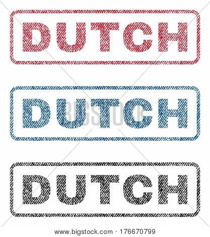 Dutch text textile seal stamp watermarks. Blue, red, black fabric vectorized texture. Vector caption inside rounded rectangular banner. Rubber sticker with fiber textile structure.