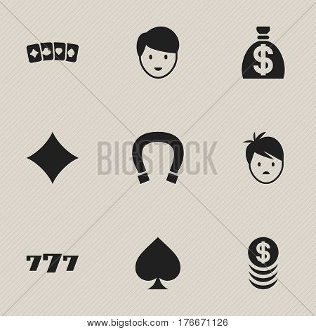 Set Of 9 Editable Business Icons. Includes Symbols Such As Luck Charm, Lucky Seven, Casino Worker And More. Can Be Used For Web, Mobile, UI And Infographic Design.