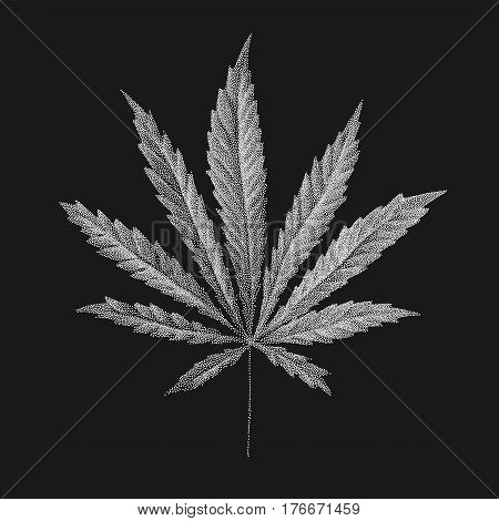 Vector illustration of dotted Cannabis sativa leaf in old style. Marijuana hemp leaf isolated on black background. Realistic illustration of plant. Stylized dotted leaves. Tattoo Hand Drawn dotwork
