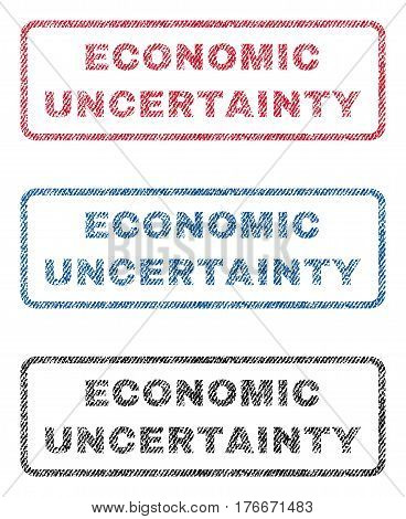 Economic Uncertainty text textile seal stamp watermarks. Blue, red, black fabric vectorized texture. Vector tag inside rounded rectangular shape. Rubber sign with fiber textile structure.