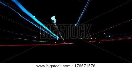 street lights zoom out effect at night abstract background