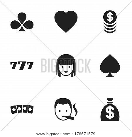 Set Of 9 Editable Gambling Icons. Includes Symbols Such As Card Suits, Smoker, Moneybag And More. Can Be Used For Web, Mobile, UI And Infographic Design.