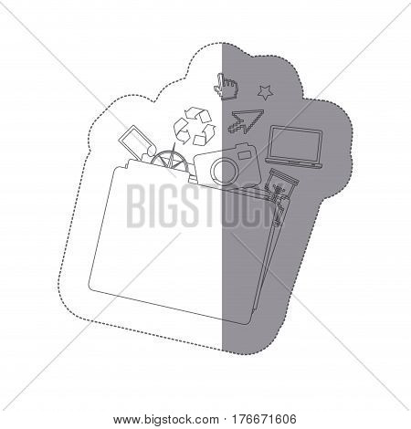 sticker monochrome shading silhouette folder and tech elements vector illustration