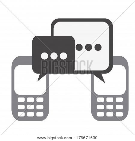 silhouette set tech cellphone and dialog box icon flat vector illustration