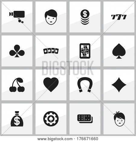 Set Of 16 Editable Gambling Icons. Includes Symbols Such As Game Card, Moneybag, Stacked Money And More. Can Be Used For Web, Mobile, UI And Infographic Design.