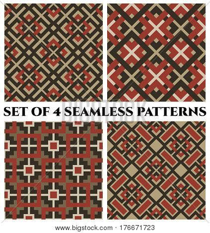 Set of 4 abstract modern geometrical seamless patterns with celtic ornament of camouflage red sand and white shades