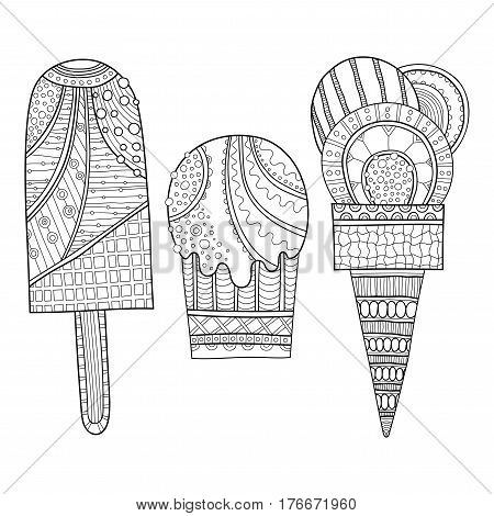 Black and white illustration of decorated ice cream for coloring book. Dessert, sweet food.