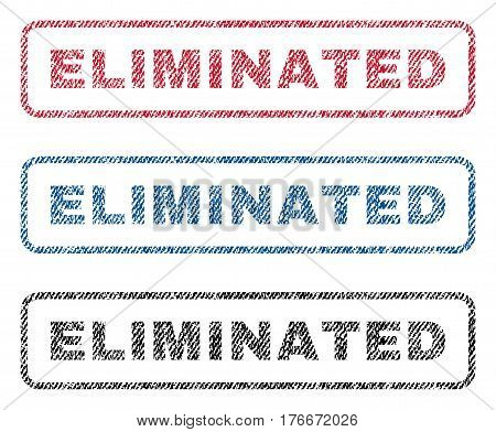 Eliminated text textile seal stamp watermarks. Blue, red, black fabric vectorized texture. Vector tag inside rounded rectangular banner. Rubber sticker with fiber textile structure.
