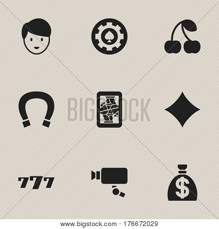Set Of 9 Editable Game Icons. Includes Symbols Such As Luck Charm, Moneybag, Lucky Seven And More. Can Be Used For Web, Mobile, UI And Infographic Design.