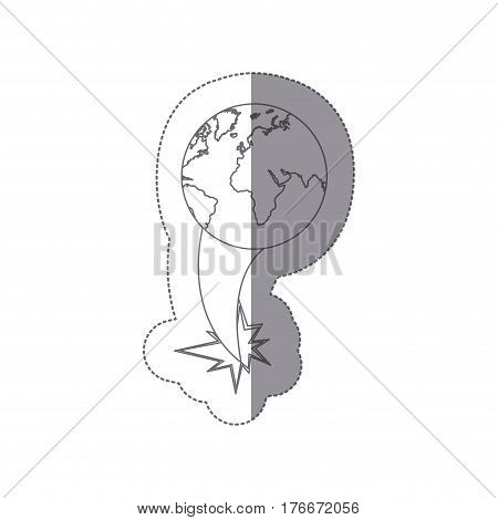 sticker silhouette earth world map with continents ejection flying vector illustration