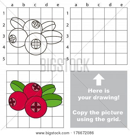 Copy the picture using grid lines. Easy educational game for kids. Simple kid drawing game with Red Cow Berry.