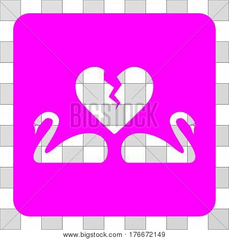 Divorce Swans square icon. Vector pictogram style is a flat symbol perforation centered in a rounded square shape, magenta color.