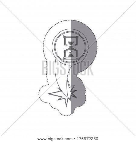 sticker silhouette circular frame with pixelated hourglass pc ejection flying vector illustration