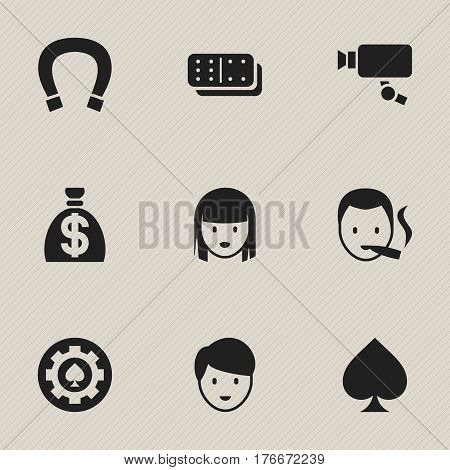 Set Of 9 Editable Casino Icons. Includes Symbols Such As Game Card, Moneybag, Female Face And More. Can Be Used For Web, Mobile, UI And Infographic Design.