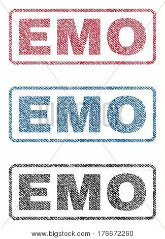 Emo text textile seal stamp watermarks. Blue, red, black fabric vectorized texture. Vector tag inside rounded rectangular shape. Rubber sticker with fiber textile structure.