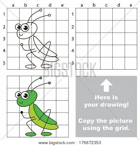 Copy the picture using grid lines. Easy educational game for kids. Simple kid drawing game with Grasshopper.