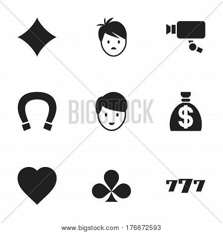 Set Of 9 Editable Excitement Icons. Includes Symbols Such As Rhombus, Shamrock, Luck Charm And More. Can Be Used For Web, Mobile, UI And Infographic Design.