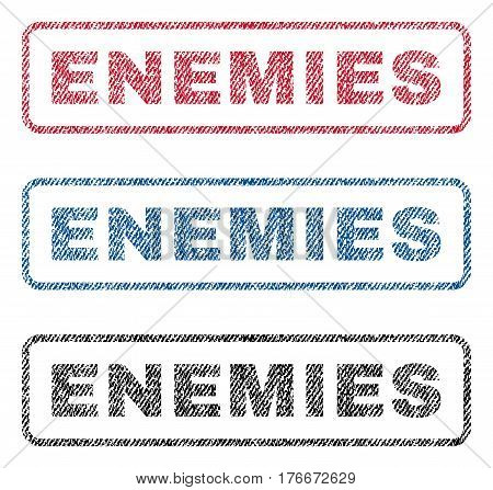 Enemies text textile seal stamp watermarks. Blue, red, black fabric vectorized texture. Vector caption inside rounded rectangular shape. Rubber sticker with fiber textile structure.