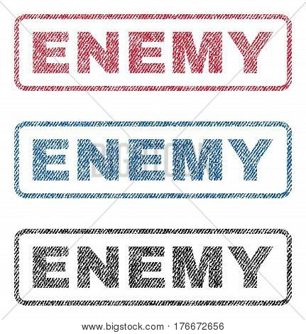 Enemy text textile seal stamp watermarks. Blue, red, black fabric vectorized texture. Vector tag inside rounded rectangular shape. Rubber sign with fiber textile structure.