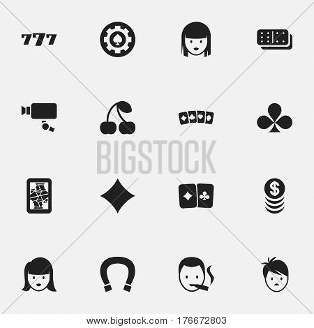 Set Of 16 Editable Excitement Icons. Includes Symbols Such As Shamrock, Tracking Cam, Luck Charm And More. Can Be Used For Web, Mobile, UI And Infographic Design.