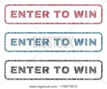 Enter To Win text textile seal stamp watermarks. Blue, red, black fabric vectorized texture. Vector tag inside rounded rectangular banner. Rubber sign with fiber textile structure.
