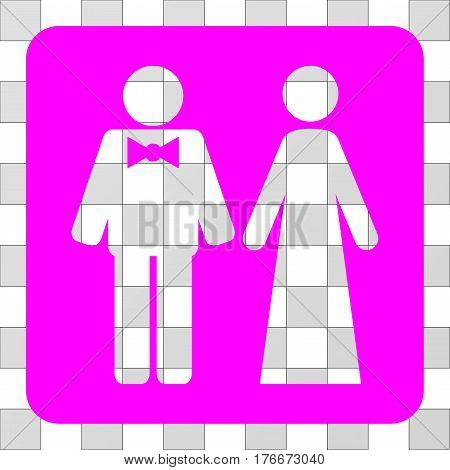 Just Married Persons interface toolbar icon. Vector pictograph style is a flat symbol perforation inside a rounded square shape, magenta color.