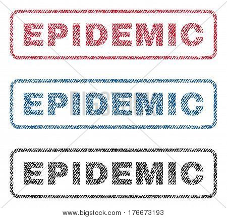 Epidemic text textile seal stamp watermarks. Blue, red, black fabric vectorized texture. Vector tag inside rounded rectangular banner. Rubber emblem with fiber textile structure.