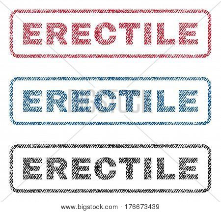 Erectile text textile seal stamp watermarks. Blue, red, black fabric vectorized texture. Vector tag inside rounded rectangular banner. Rubber sticker with fiber textile structure.
