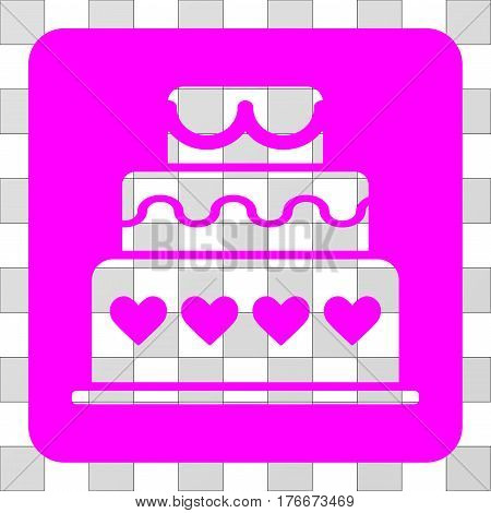 Marriage Cake interface icon. Vector pictogram style is a flat symbol perforation in a rounded square shape, magenta color.