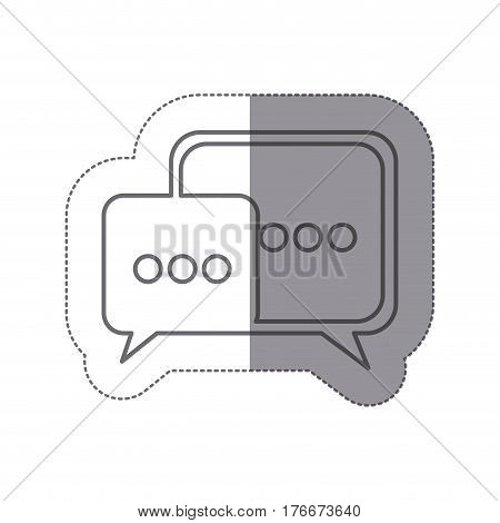 sticker silhouette set dialog box and suspending points vector illustration