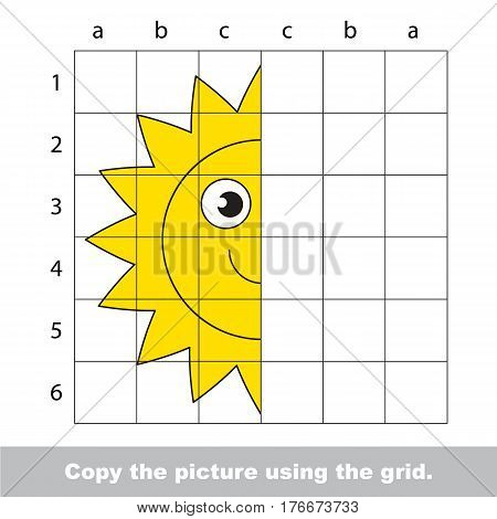 Vector kid educational game with easy game level for preschool kids education, finish the simmetry picture using grid sells, the funny drawing kid school. Drawing tutorial for half Sun.
