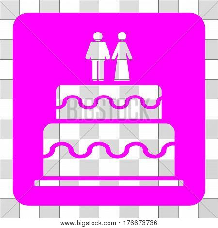 Marriage Cake interface icon. Vector pictograph style is a flat symbol perforation centered in a rounded square shape, magenta color.
