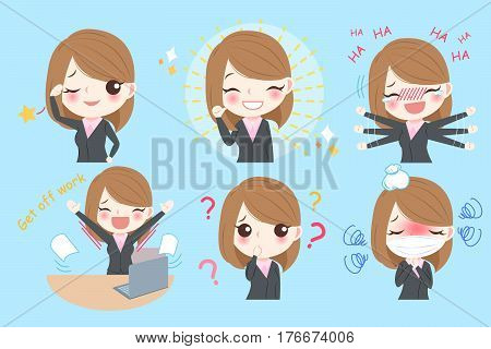 cute cartoon business woman do different emotion