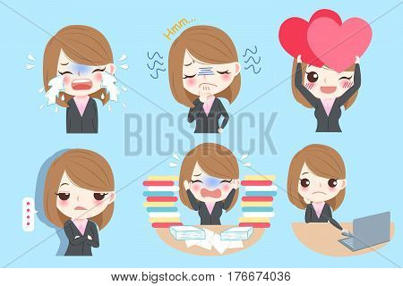 Set of cute cartoon business woman with different emotion