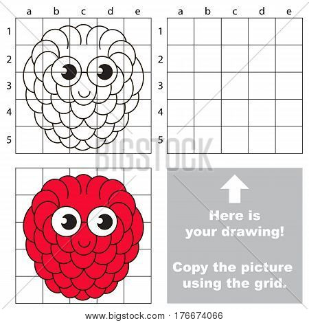 Copy the picture using grid lines. Easy educational kid game. Simple level of difficulty. Copy the Raspberry.