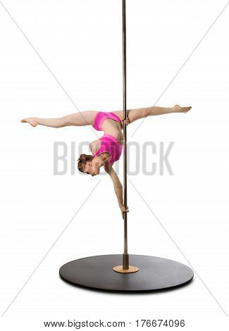 Vertical full length shot of athletic flexible woman performing at pole dance studio, making twine on pylon on white isolated background, copy space, cutout