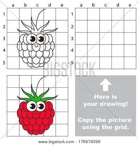 Copy the picture using grid lines. Easy educational kid game. Simple level of difficulty. Copy the Ripe Raspberry.