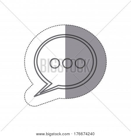 sticker silhouette speech bubble with suspending points icon vector illustration