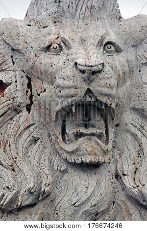 Statue of a Roaring Lion with Sharp Teeth on Guard