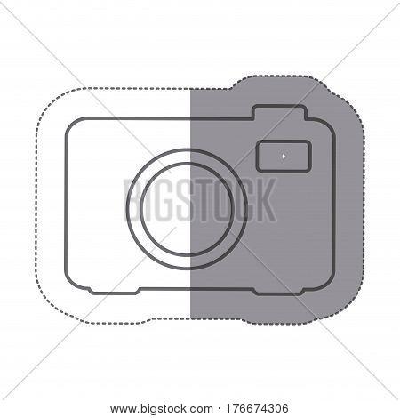 sticker silhouette analog camera icon flat vector illustration