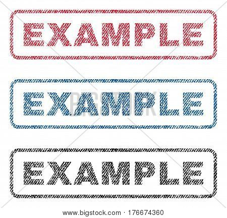 Example text textile seal stamp watermarks. Blue, red, black fabric vectorized texture. Vector tag inside rounded rectangular shape. Rubber sticker with fiber textile structure.